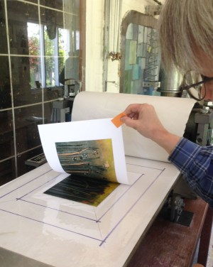 Revealing a print on the press