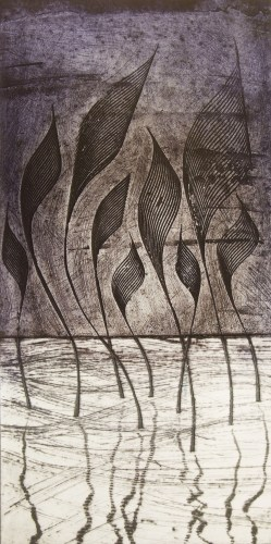 A collagraph print made with combed cement and drypoint