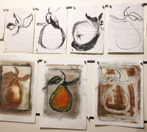 Some of the one minute charcoal pear drawings with mono prints