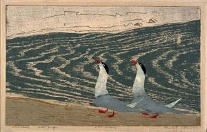 Elizabeth Olds; Two terns parading, wood cut print with woodgrain