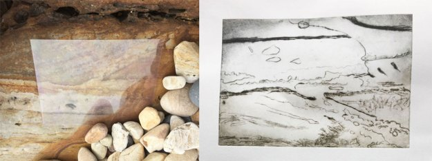 Tracing a rock onto a transparent printing plate