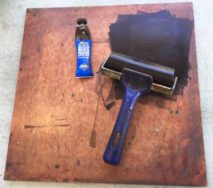 water based block printing ink with roller and tile