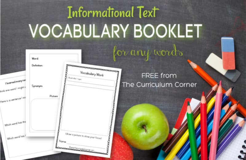 Informational Text Vocabulary Booklet free from The Curriculum Corner