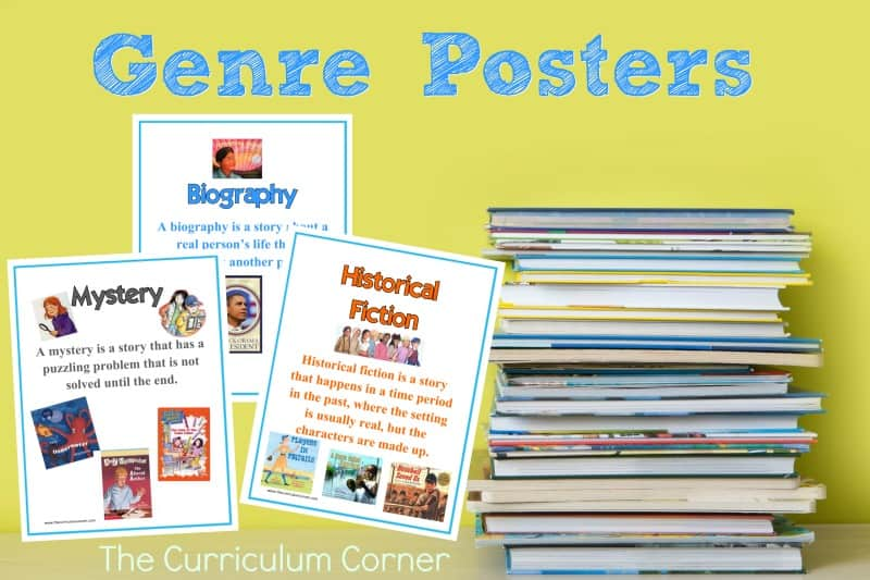 Help students identify a variety of genres with this free set of genre posters from The Curriculum Corner.