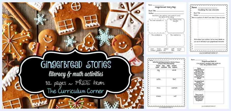 FREE Gingerbread Stories Activities for math and literacy | unit of study from The Curriculum Corner | gingerbread man | fairtytales