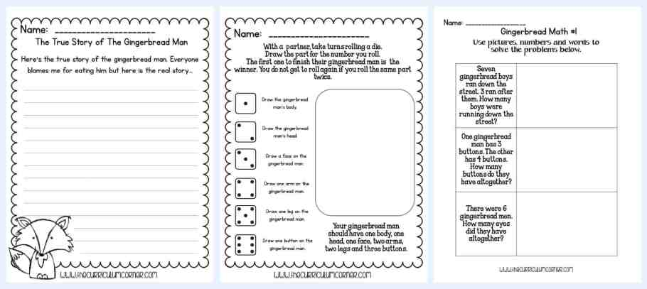 FREE Collection for Gingerbread Stories Activities for math and literacy | unit of study from The Curriculum Corner | gingerbread man | fairtytales