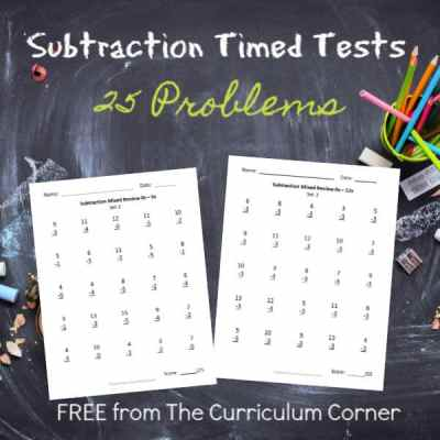 25 Subtraction Facts – Mixed Review Pages