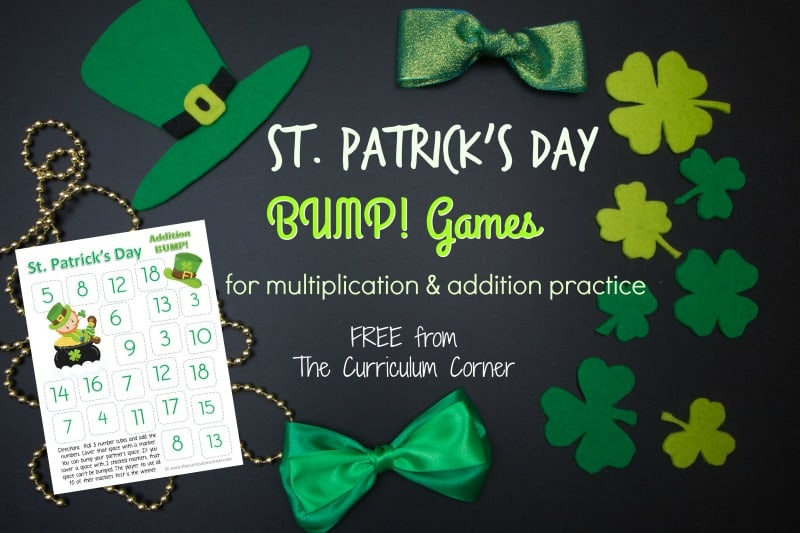 These St. Patrick's Day Bump games will give your students extra multiplication and addition fact practice during the month of March.