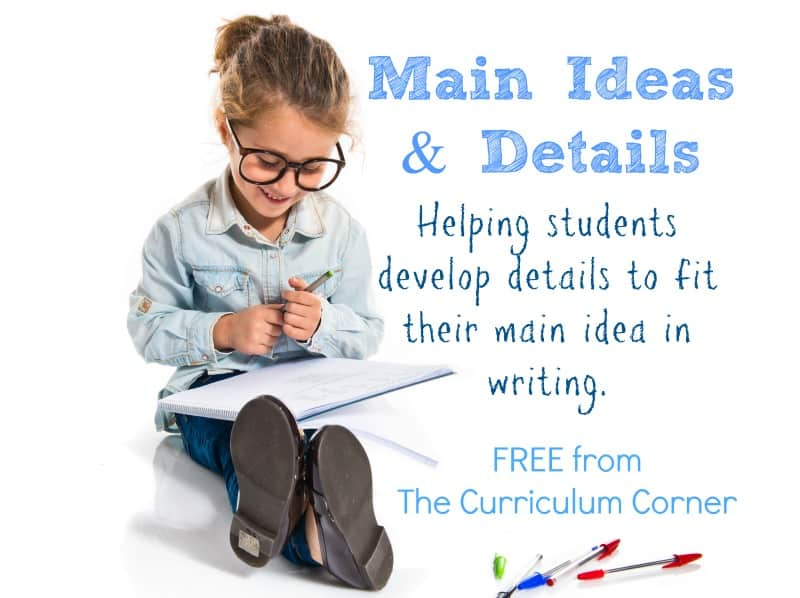 These free resources have been created to help your students develop a main idea and details when writing.