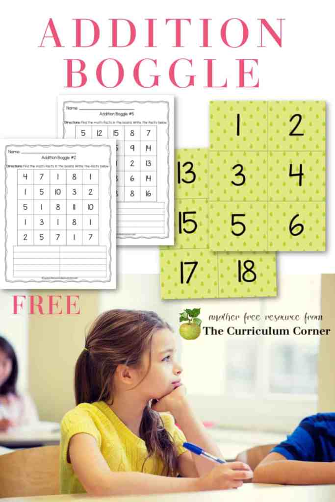 This addition boggle math set can be added to your classroom collection for practicing addition facts.