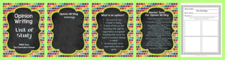 FREE Opinion Writing Unit of Study from The Curriculum Corner FREEBIE | blank books, mini-lesson & more FREEBIE