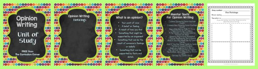 FREE Opinion Writing Unit of Study from The Curriculum Corner FREEBIE   blank books, mini-lesson & more FREEBIE
