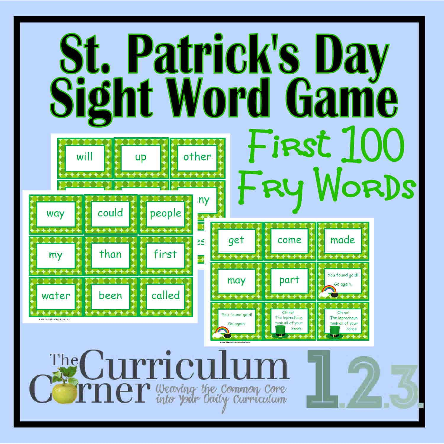 St Patrick S Day Fry Word Game 1st 100 Words