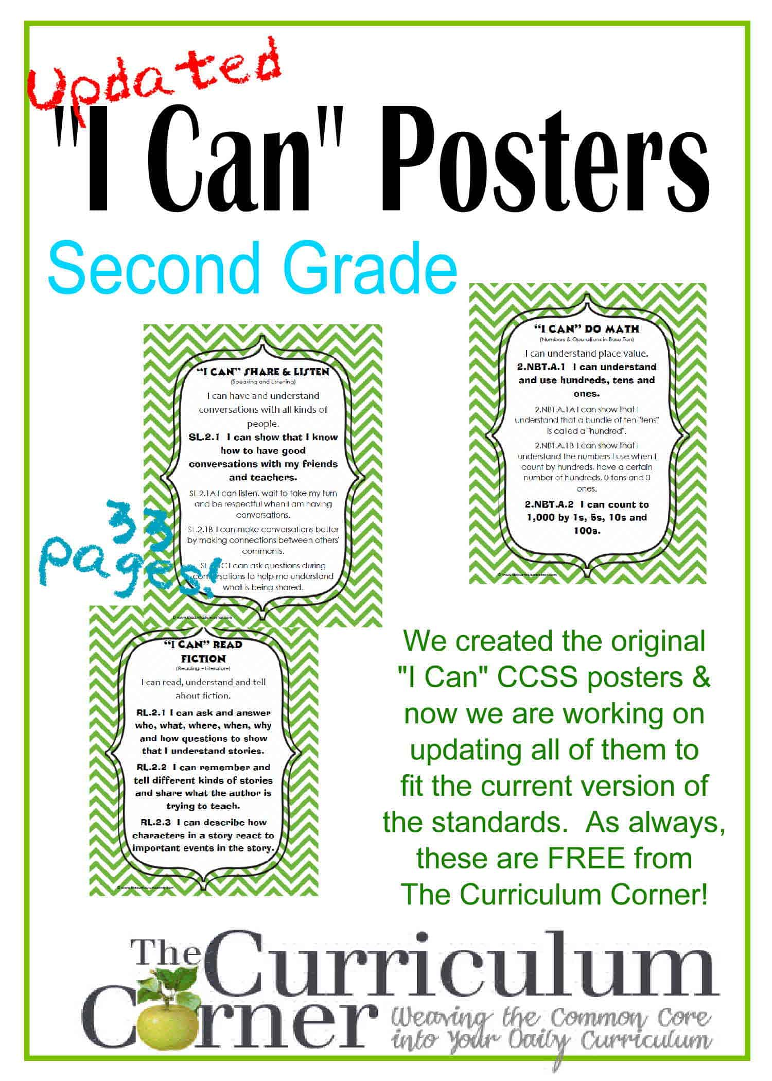 Updated 2nd Grade I Can Ccss Posters In Green Chevron