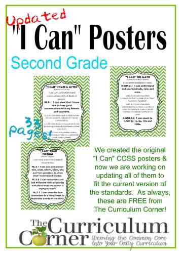 Updated I Can Statements in Green Chevron Poster Format from The Curriculum Corner FREE