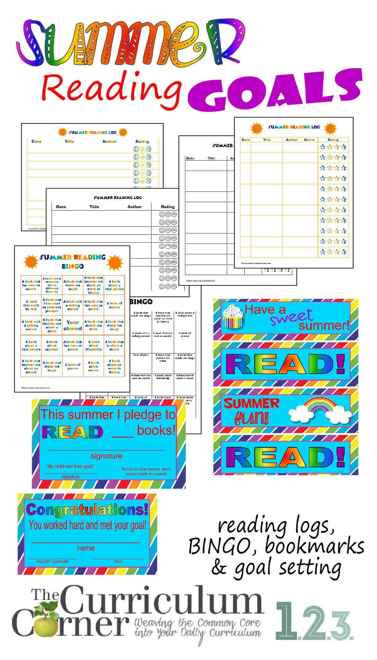 Summer Reading Goals - The Curriculum Corner 123