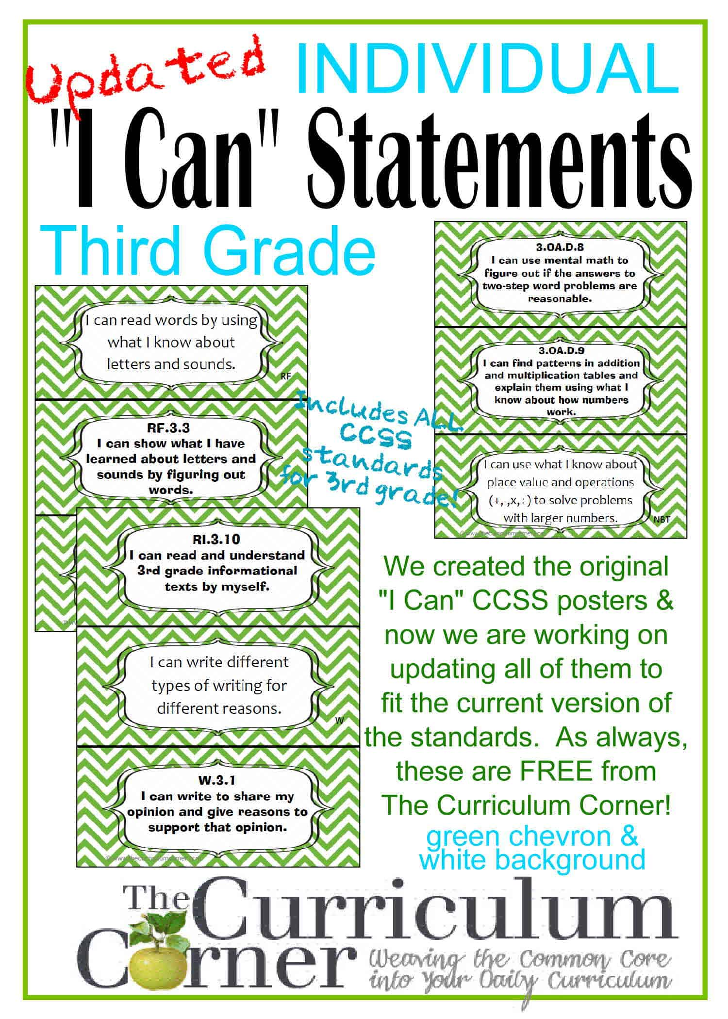 Updated I Can Statements For Ccss 3rd Grade 3 Per Page