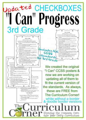 I Can Monitor 3rd Grade Statements for Common Core in a checkbox format FREE from The Curriculum Corner