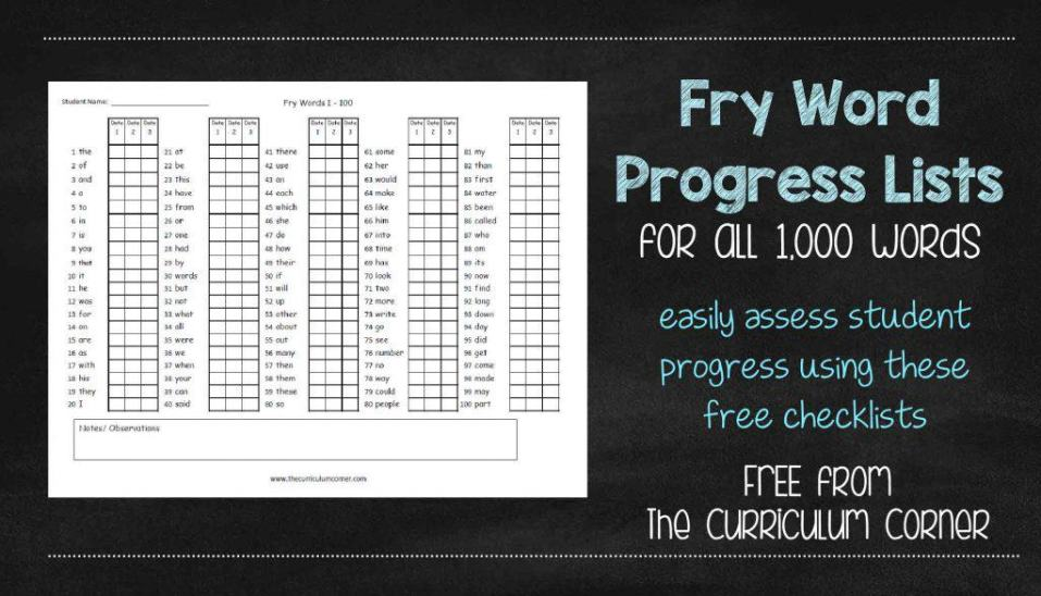 Fry Word Progress Checklists FREE from The Curriculum Corner