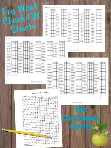 Fry Word Check Off Lists FREE from The Curriculum Corner