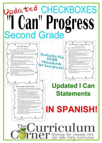 Spanish I Can Common Core Statements 2nd Grade FREE from The Curriculum Corner | CCSS