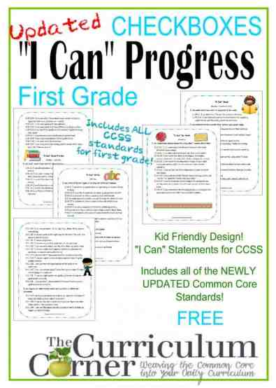 Kid Clip Art I Can Statements in a Checkbox Format for 1st Grade - FREE from The Curriculum Corner