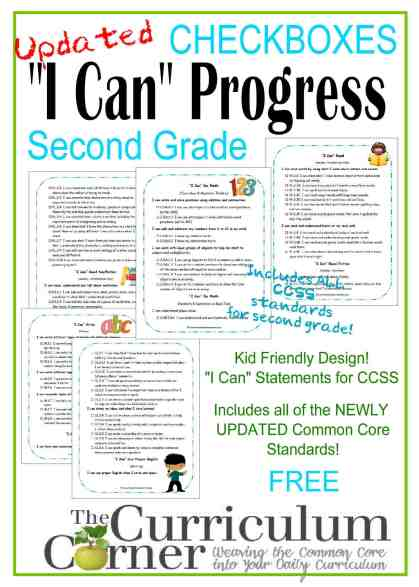 Kid Clip Art I Can Statements Checkboxes by The Curriculum Corner FREE Updated standards!