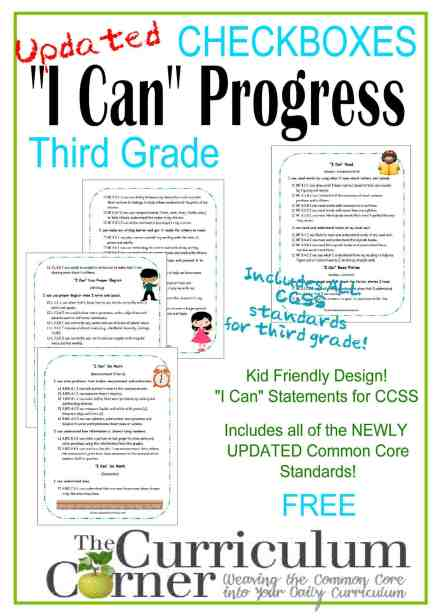 I Can Progress Checkboxes in Kid Friendly Language FREE Checklists from The Curriculum Corner