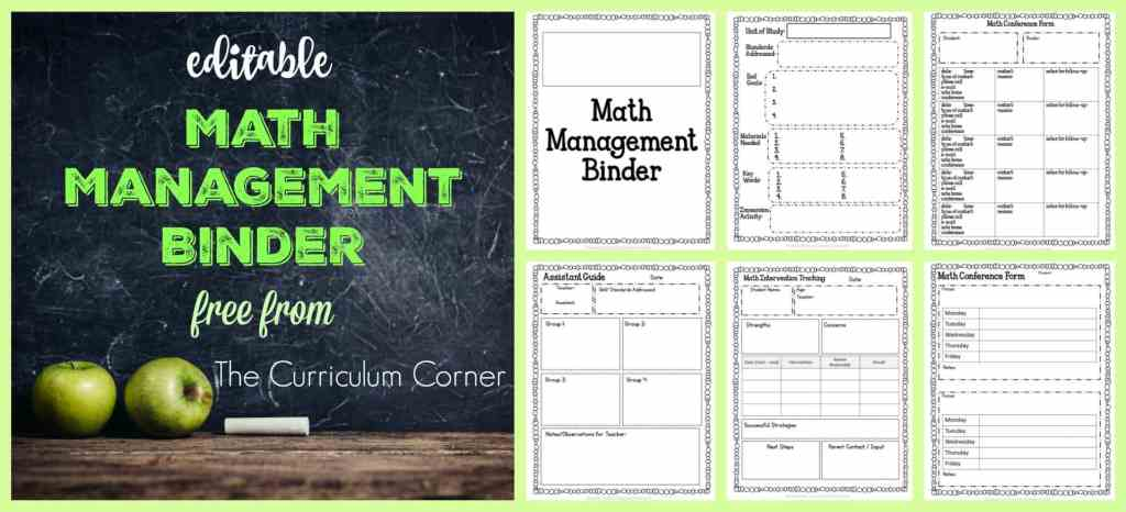 FREE Editable Math Management Binder from The Curriculum Corner