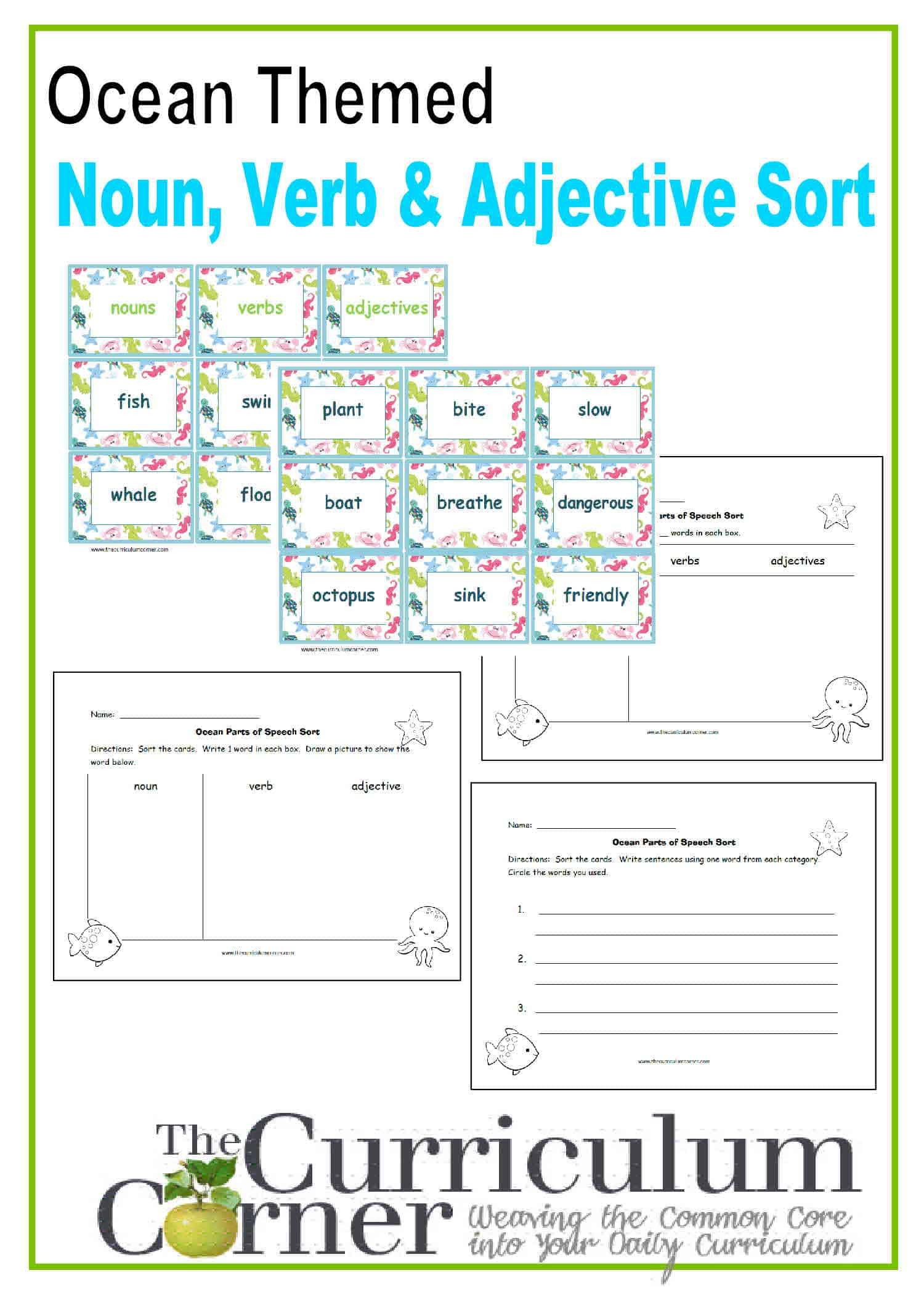 Ocean Themed Noun Verb Adjective Sort