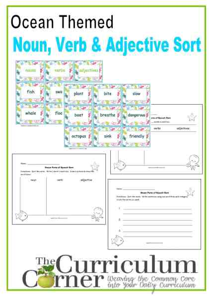 Ocean Themed Noun, Verb, Adjective Sort free from The Curriculum Corner with recording pages