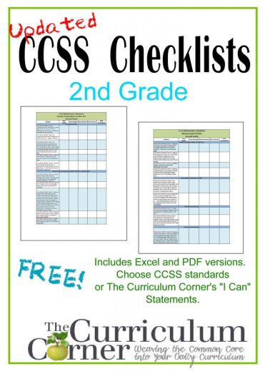 Updated Common Core Checklists | 2nd Grade I Can Checklists | CCSS | Free | www.thecurriculumcorner.com