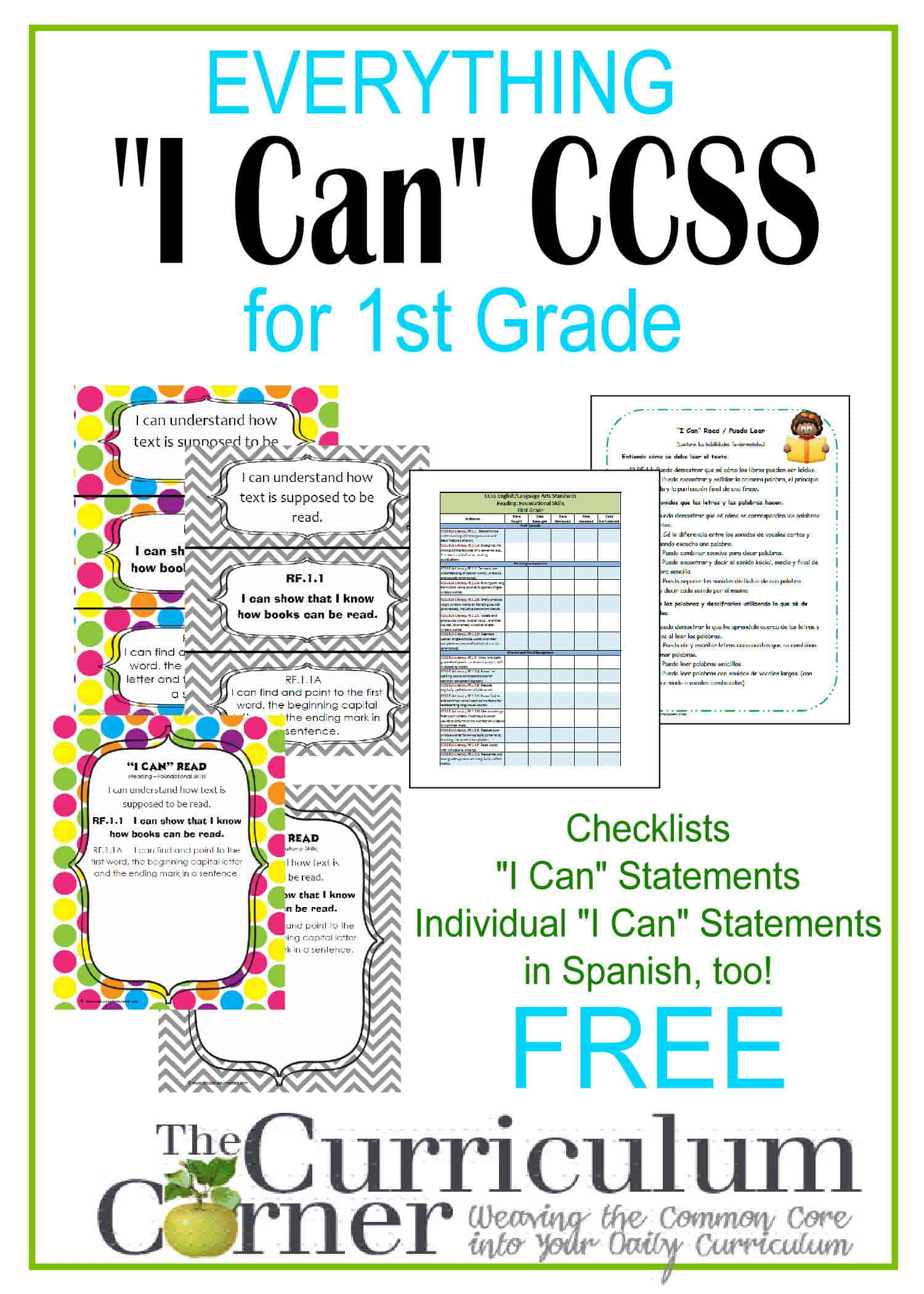 Everything I Can Common Core For 1st Grade