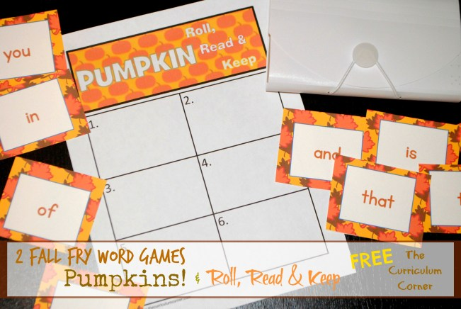 Fall Fry Word Games | Roll, Read & Keep plus Pumpkins Game for the first 300 words FREE from The Curriculum Corner