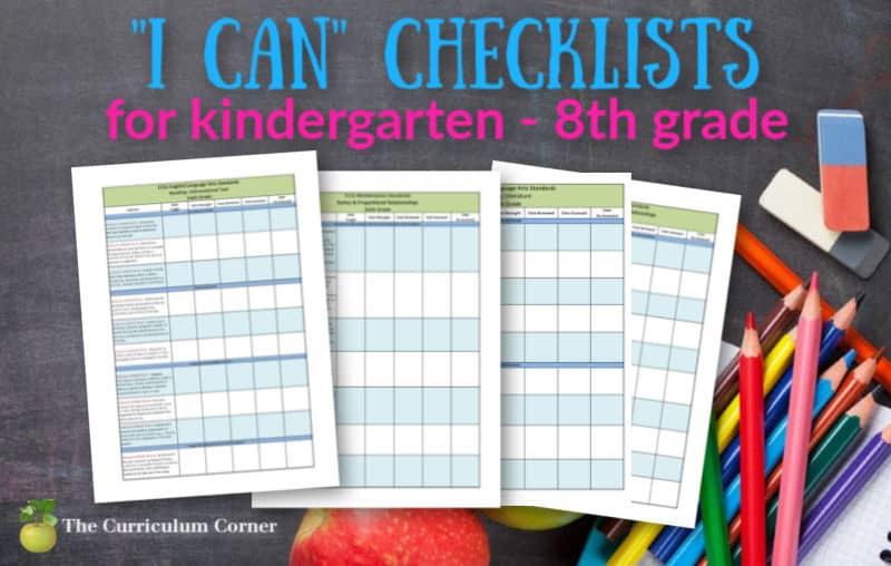 kindergarten - 8th grade I Can Checklists