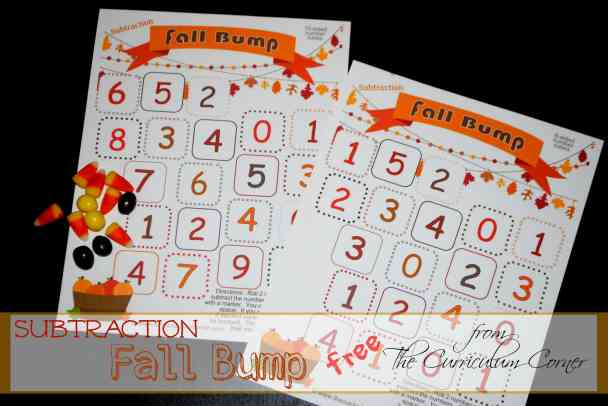Free Fall Themed Subtraction Bump Games plus links to tons of timed tests FREE from The Curriculum Corner