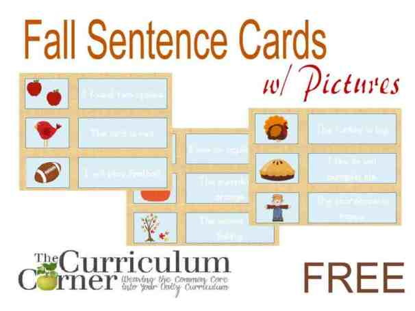 Fall Sentence Cards with Pictures for Beginning Readers FREE from The Curriculum Corner