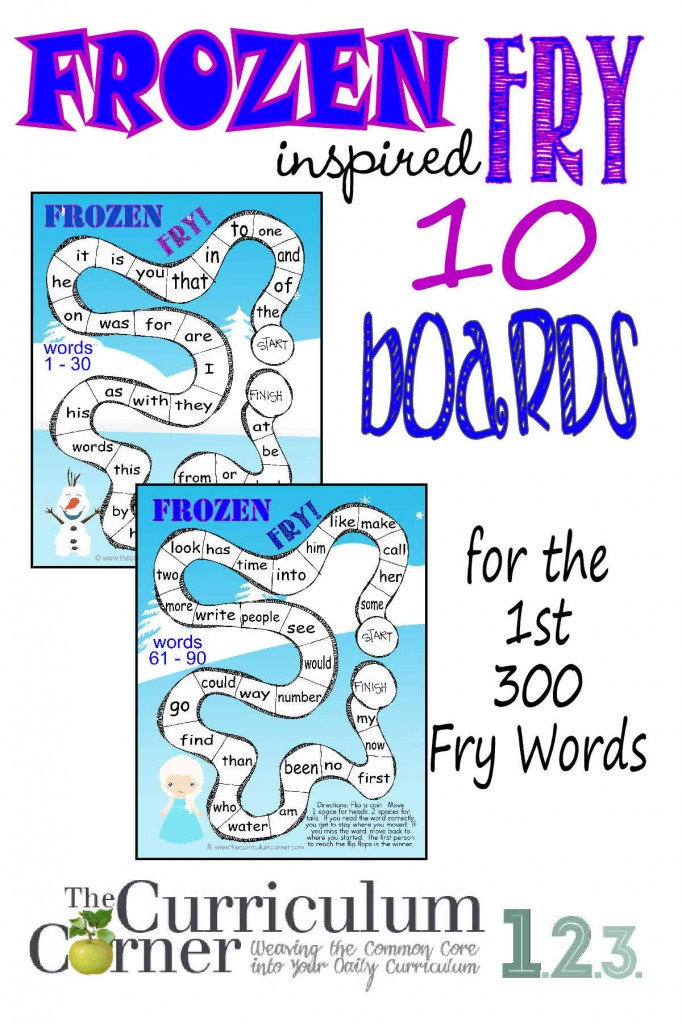 Frozen Inspired Fry Word Games for the first 300 Words | Sight Word Practice | FREE from The Curriculum Corner