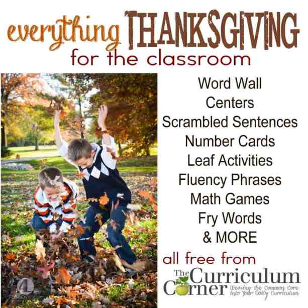 Everything Thanksgiving Activities for the Classroom A HUGE collection of FREE printables from The Curriculum Corner
