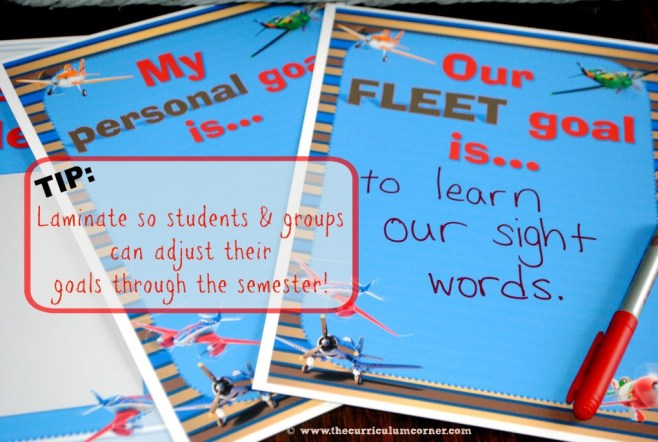 Student Goal Setting in the New Year  with Planes - ideas and printables for the classroom from The Curriculum Corner