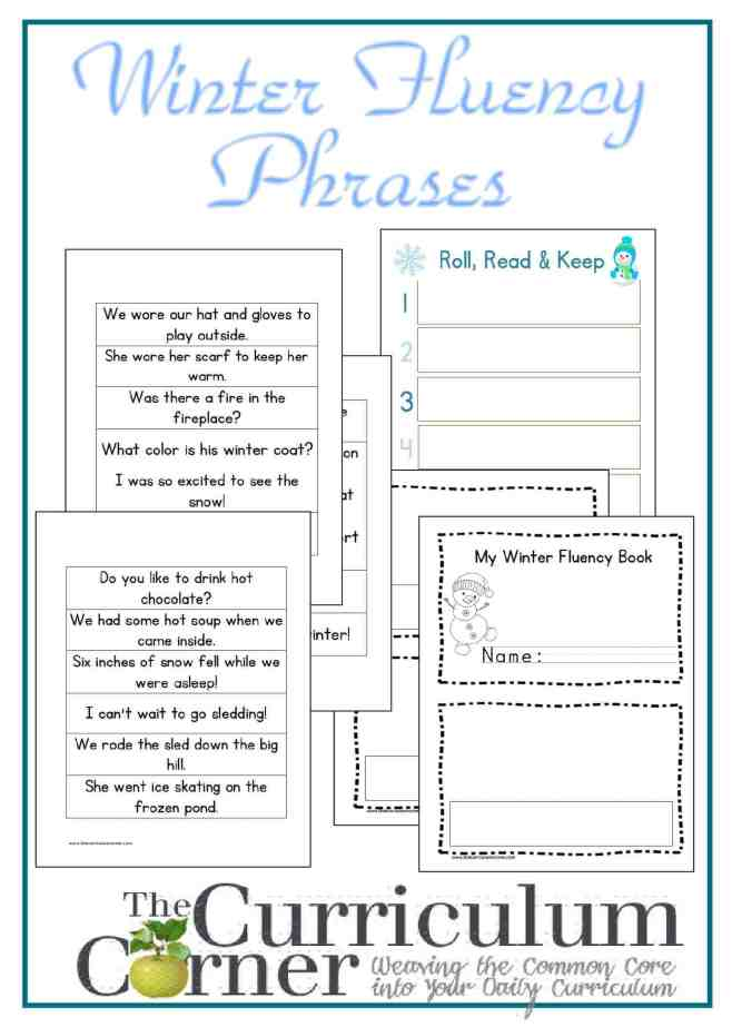 Winter Fluency Phrases with Activities FREE from The Curriculum Corner