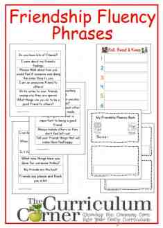 Friendship Fluency Phrases free from The Curriculum Corner with booklet and Roll, Read & Keep board game