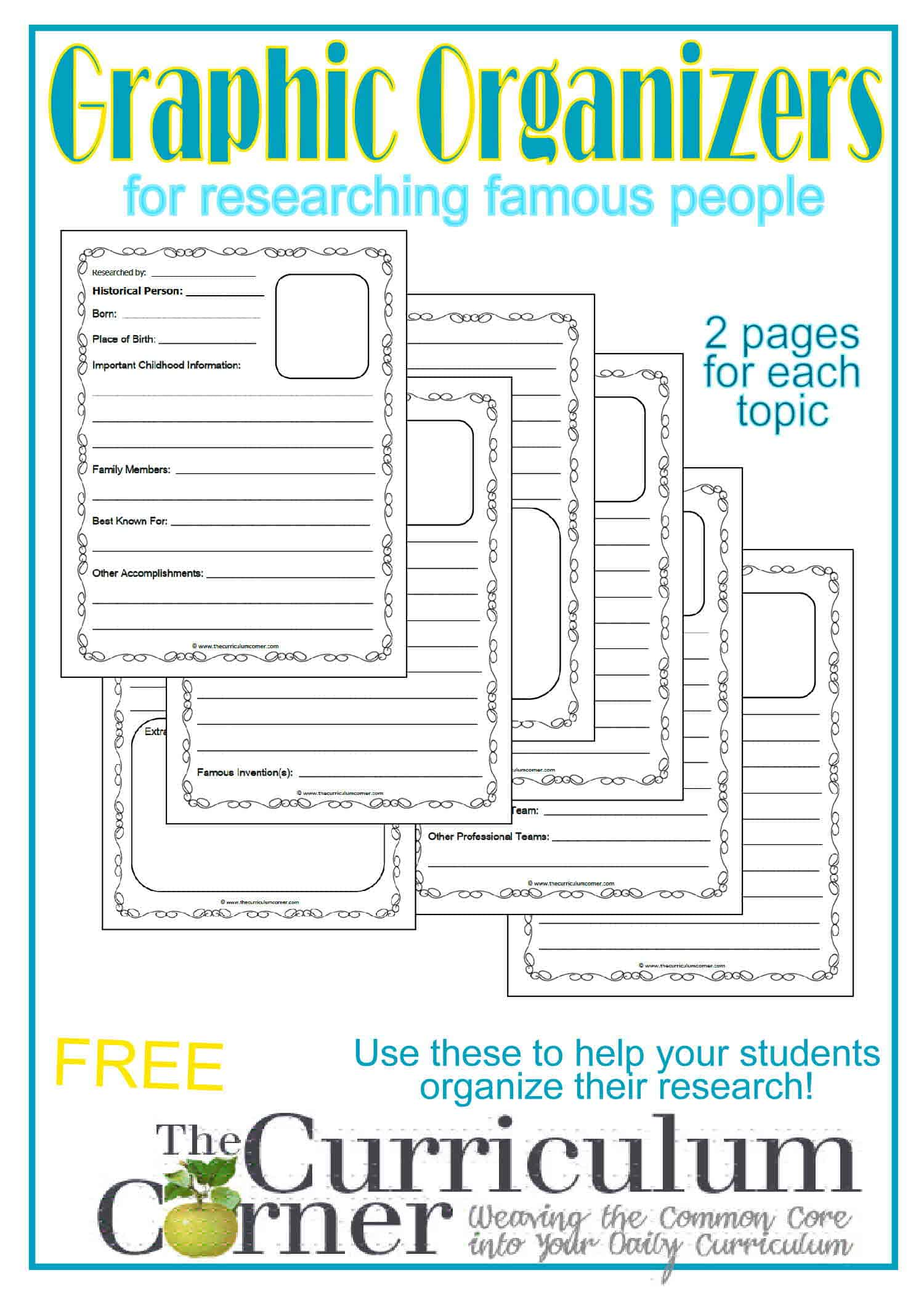 Famous People Research Graphic Organizers