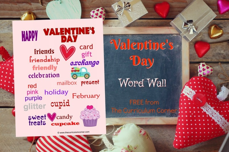 Use this Valentine's Day Word Wall for Writing Workshop Practice in your classroom. Free resource from The Curriculum Corner