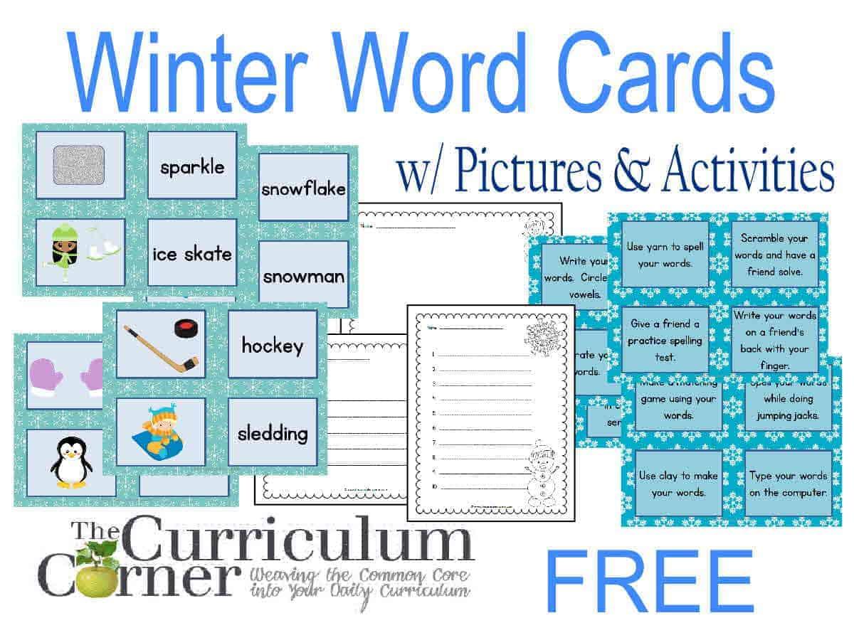 Winter Word Cards W Activities