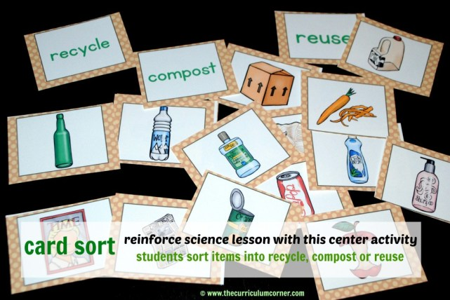 Recycle, Reuse, Compost Card Sort FREE from The Curriculum Corner