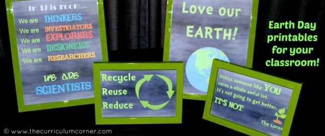 Chalkboard themed Earth Day printables free from The Curriculum Corner