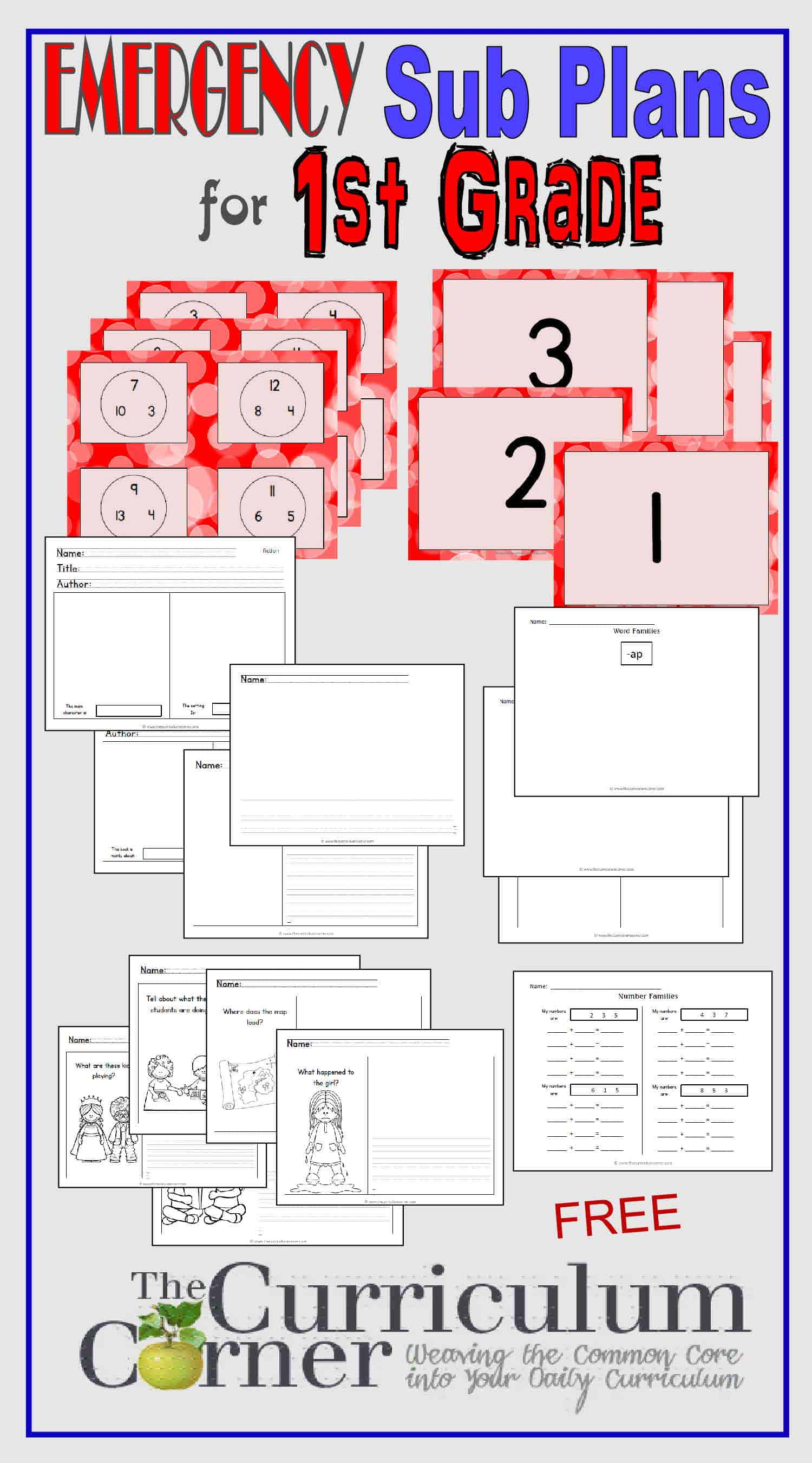 1st Grade Emergency Sub Plans - The Curriculum Corner 123