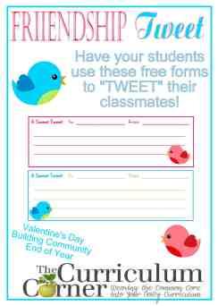 Friendship Tweet free from The Curriculum Corner