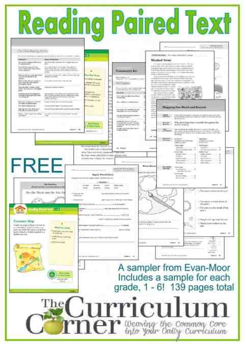 Reading Paired Text Freebie from Evan-Moor and The Curriculum Corner 139 pages for grades 1 - 6  AMAZING Resource!!!